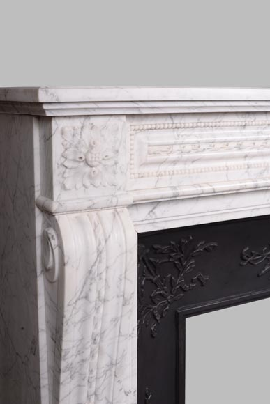 Antique Louis XVI style mantel in veined Carrara marble-3