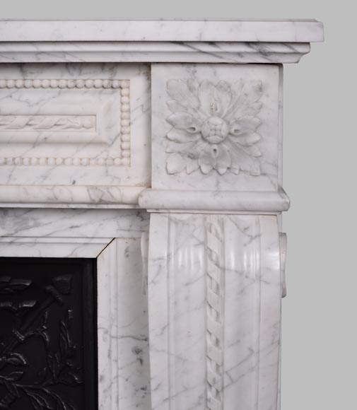 Antique Louis XVI style mantel in veined Carrara marble-6