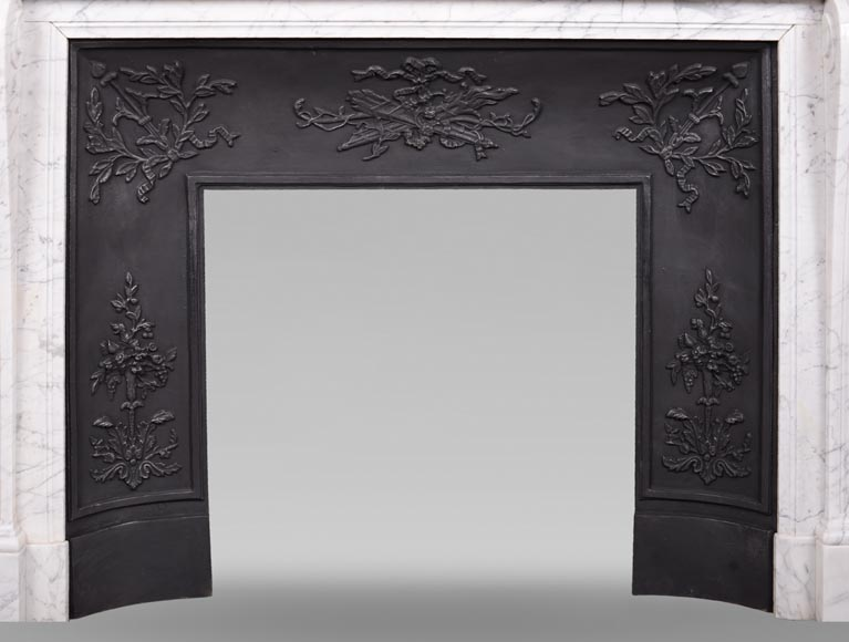 Antique Louis XVI style mantel in veined Carrara marble-8
