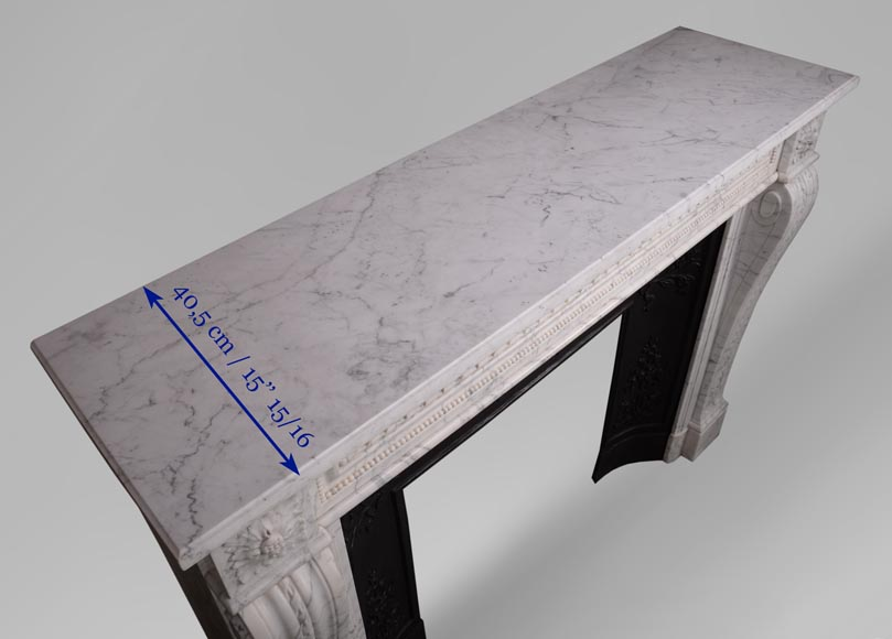 Antique Louis XVI style mantel in veined Carrara marble-9