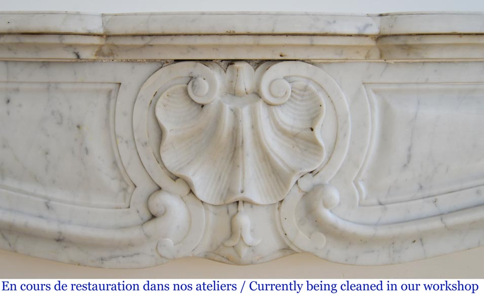 Antique Louis XV style fireplace with three shells in Carrara marble-1