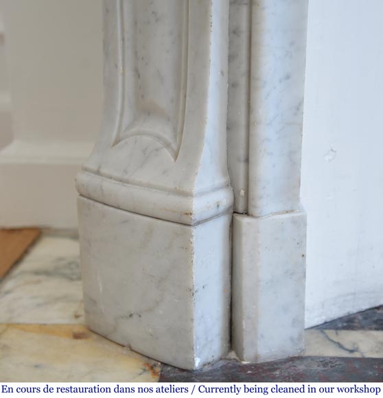 Antique Louis XV style fireplace with three shells in Carrara marble-4
