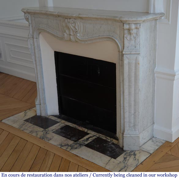 Antique Louis XV style fireplace with three shells in Carrara marble-5
