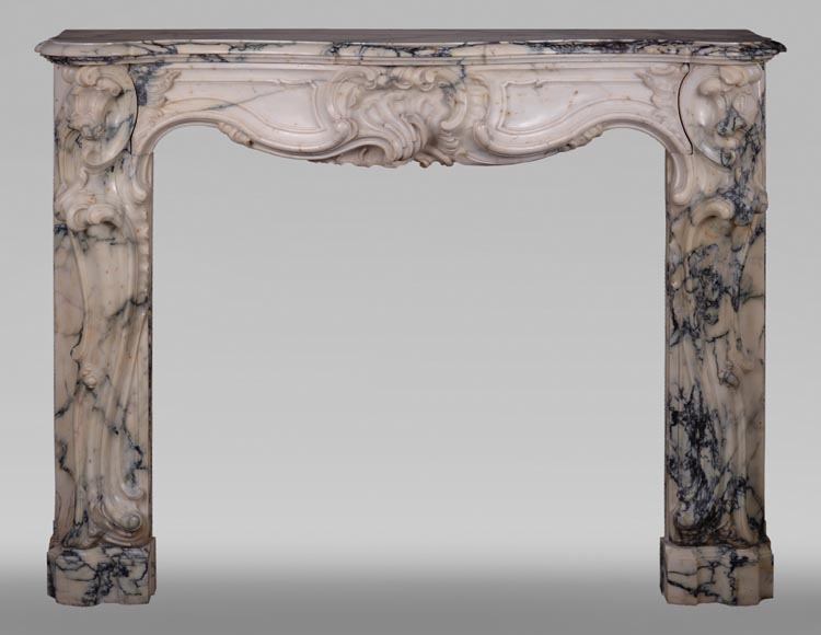 Antique Louis XV style baroque fireplace in Paonazzo marble-0
