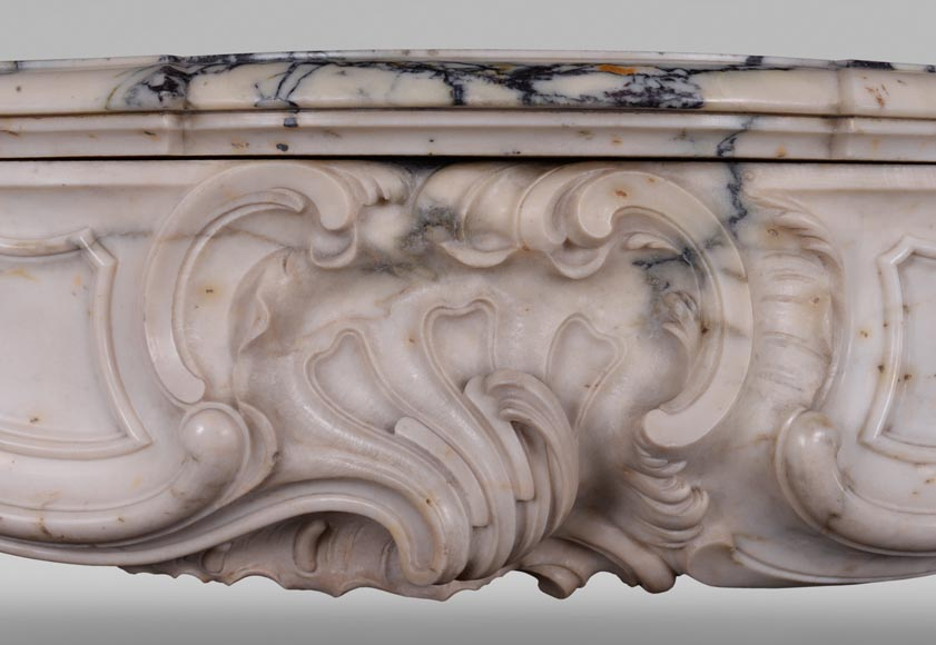 Antique Louis XV style baroque fireplace in Paonazzo marble-1