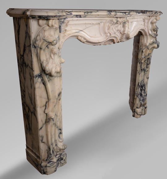 Antique Louis XV style baroque fireplace in Paonazzo marble-4