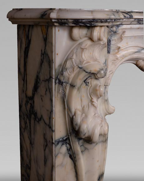 Antique Louis XV style baroque fireplace in Paonazzo marble-5