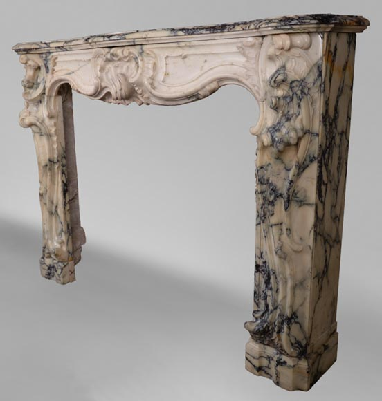 Antique Louis XV style baroque fireplace in Paonazzo marble-11