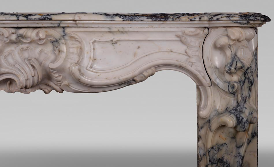 Antique Louis XV style baroque fireplace in Paonazzo marble-12
