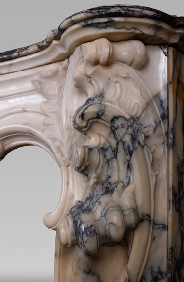 Antique Louis XV style baroque fireplace in Paonazzo marble-13