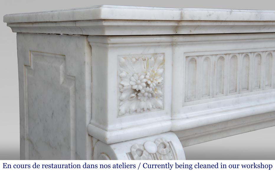 Antique Louis XVI style fireplace in Carrara marble with basket of flowers-6