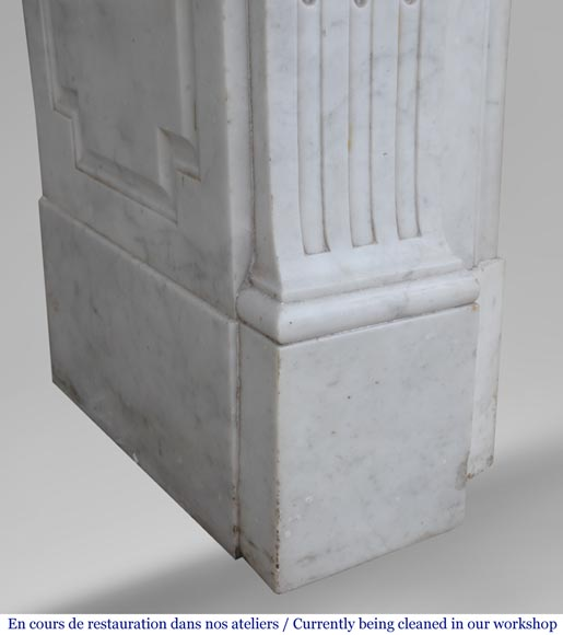 Antique Louis XVI style fireplace in Carrara marble with basket of flowers-9