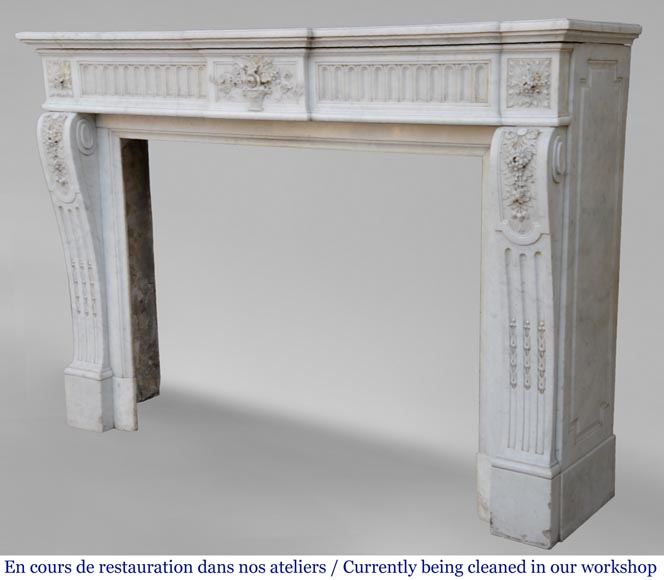 Antique Louis XVI style fireplace in Carrara marble with basket of flowers-10