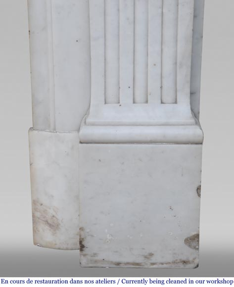 Antique Louis XVI style fireplace in Carrara marble with basket of flowers-14
