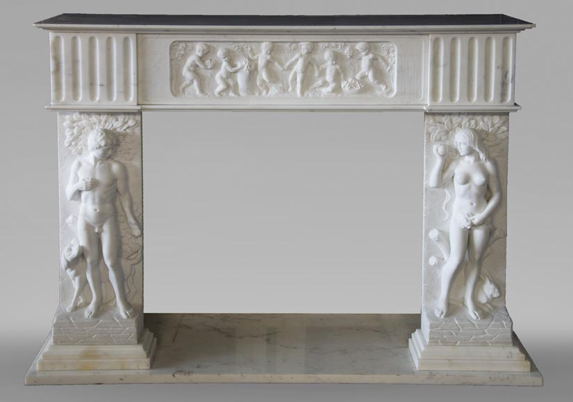 Carrara marble fireplace with Adam and Eve decoration-0