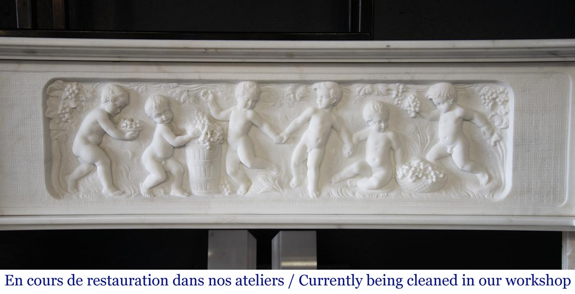 Carrara marble fireplace with Adam and Eve decoration-1