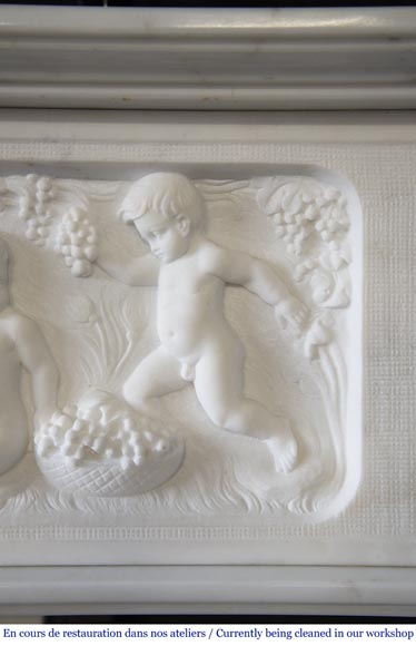Carrara marble fireplace with Adam and Eve decoration-2