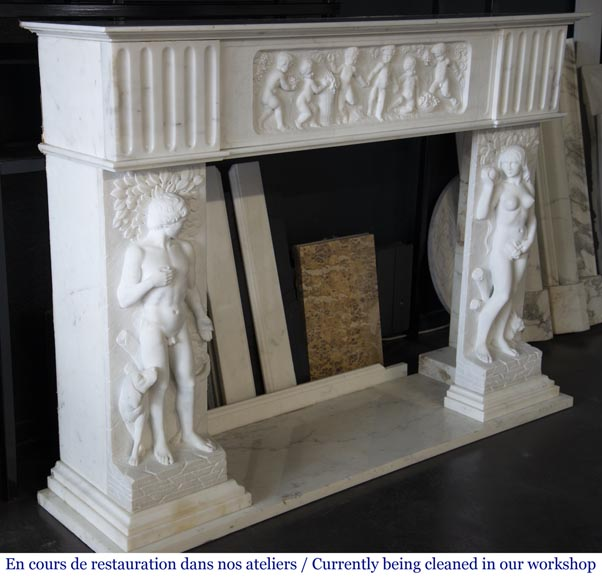 Carrara marble fireplace with Adam and Eve decoration-4