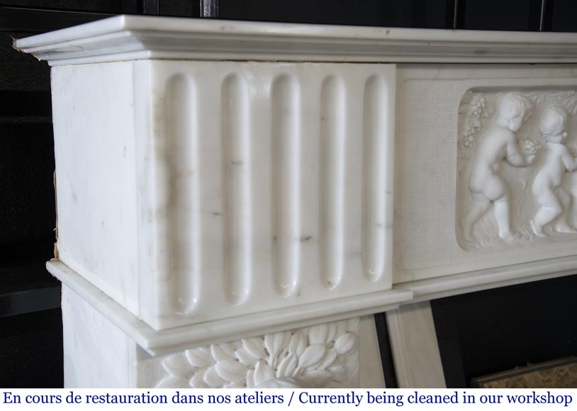 Carrara marble fireplace with Adam and Eve decoration-5