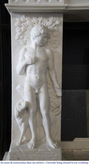 Carrara marble fireplace with Adam and Eve decoration-6