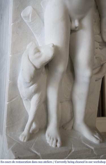 Carrara marble fireplace with Adam and Eve decoration-7