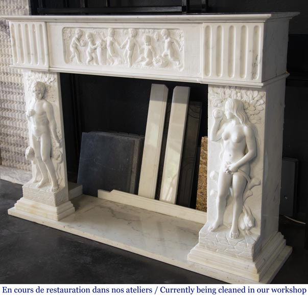 Carrara marble fireplace with Adam and Eve decoration-9