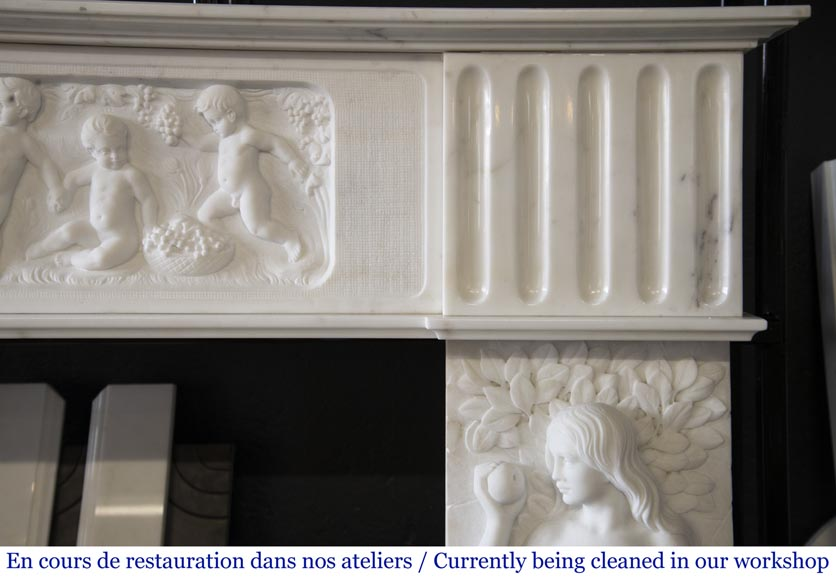 Carrara marble fireplace with Adam and Eve decoration-10