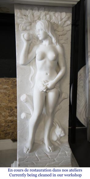 Carrara marble fireplace with Adam and Eve decoration-11