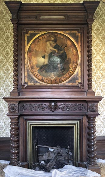 Antique walnut fireplace with trumeau decorated with a painting depicting the God Apollo-0
