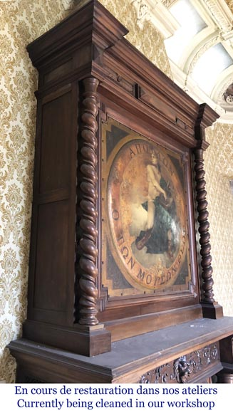 Antique walnut fireplace with trumeau decorated with a painting depicting the God Apollo-5
