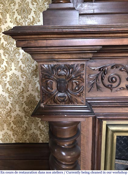 Antique walnut fireplace with trumeau decorated with a painting depicting the God Apollo-7