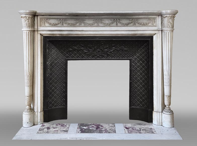 Antique Louis XVI style fireplace with columns in Carrara marble-0