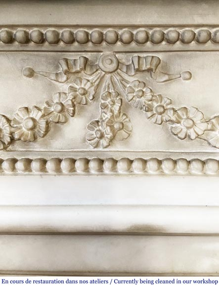 Antique Louis XVI style fireplace with columns in Carrara marble-1