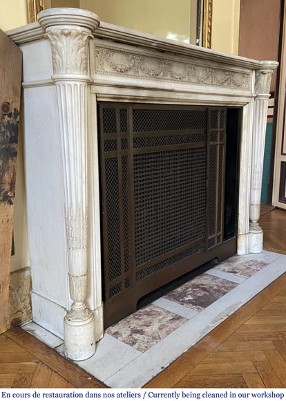 Antique Louis XVI style fireplace with columns in Carrara marble-2