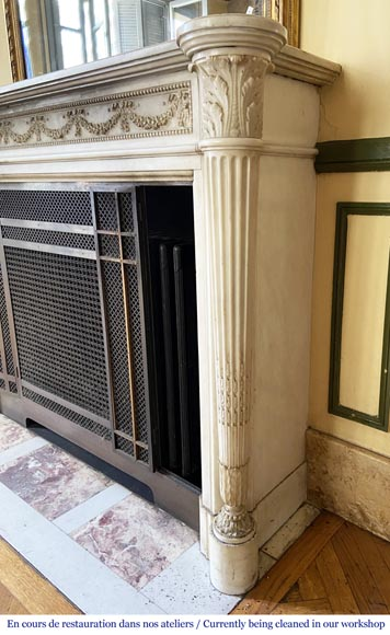 Antique Louis XVI style fireplace with columns in Carrara marble-3