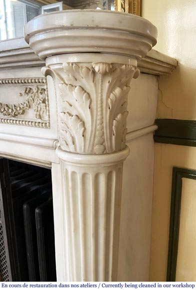 Antique Louis XVI style fireplace with columns in Carrara marble-4