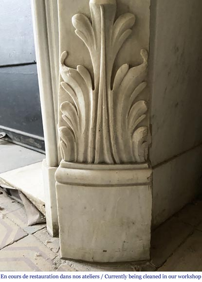 Antique Louis XV style fireplace in Carrara marble-5