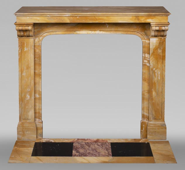 Antique Napoleon III style fireplace in Jaune de Sienne marble-0