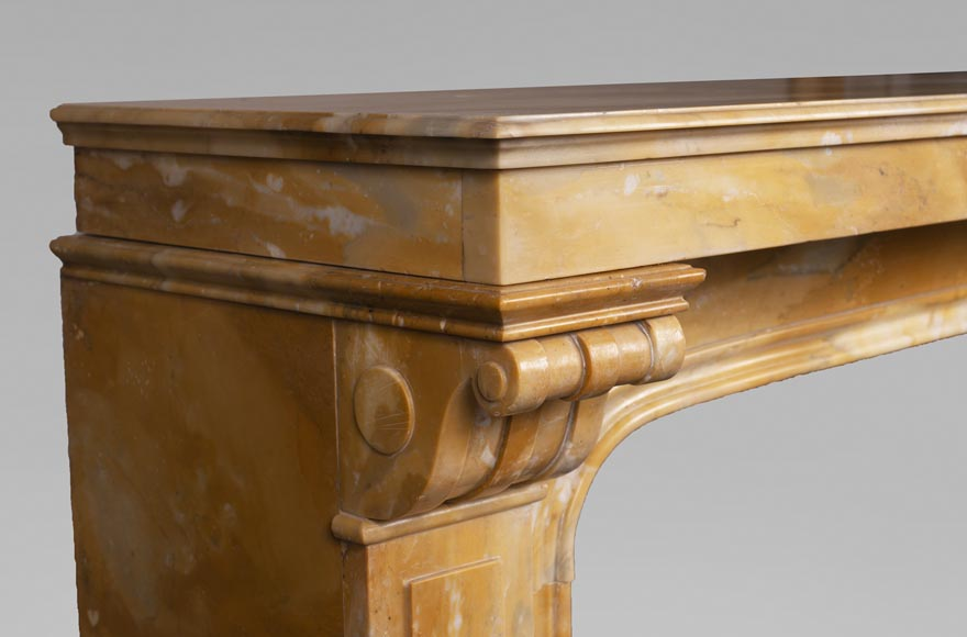 Antique Napoleon III style fireplace in Jaune de Sienne marble-3