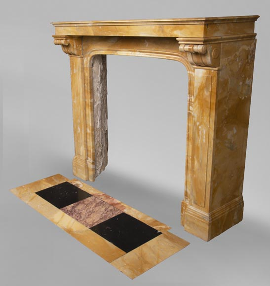 Antique Napoleon III style fireplace in Jaune de Sienne marble-5