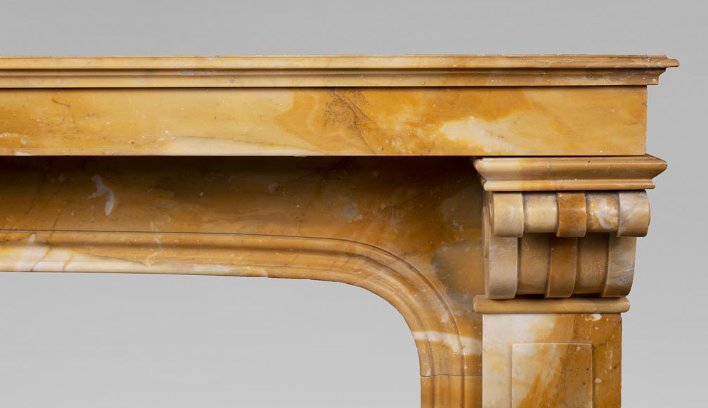 Antique Napoleon III style fireplace in Jaune de Sienne marble-6