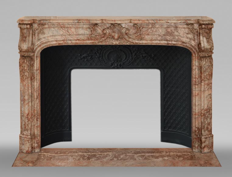 Antique Regence style mantel in Sarrancolin Ilhet marble-0