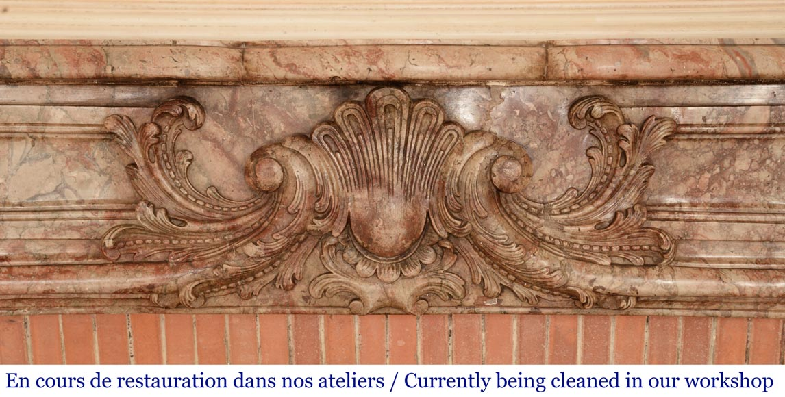 Antique Regence style mantel in Sarrancolin Ilhet marble-1