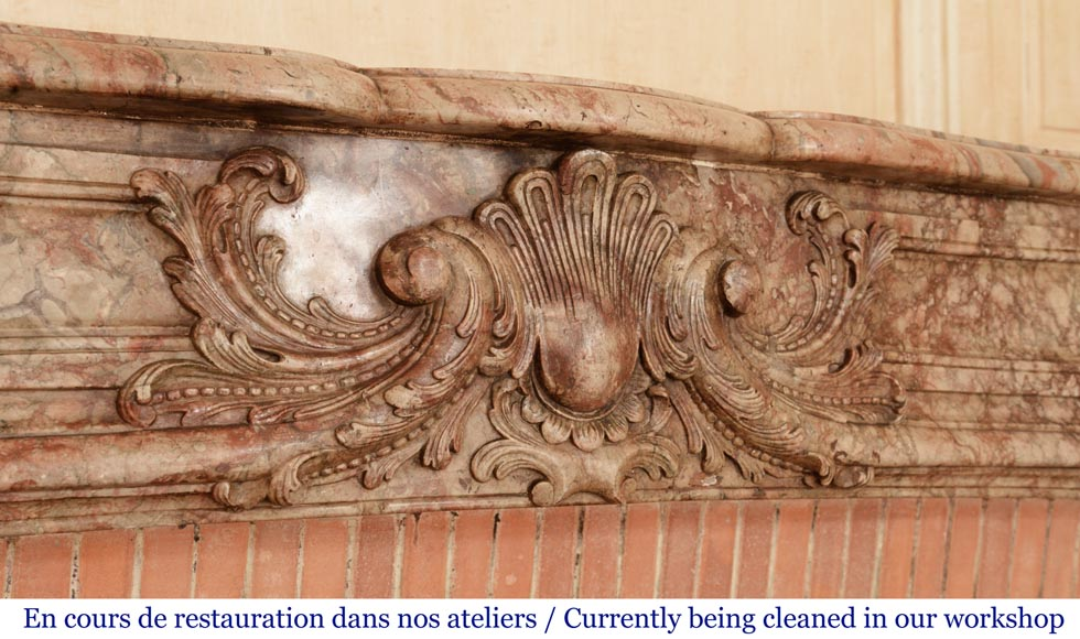 Antique Regence style mantel in Sarrancolin Ilhet marble-2