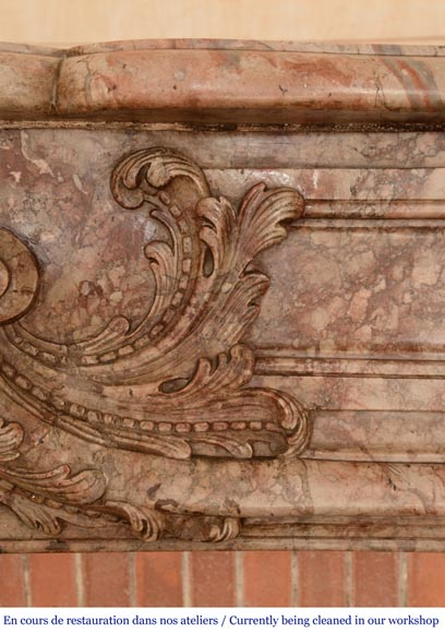 Antique Regence style mantel in Sarrancolin Ilhet marble-3