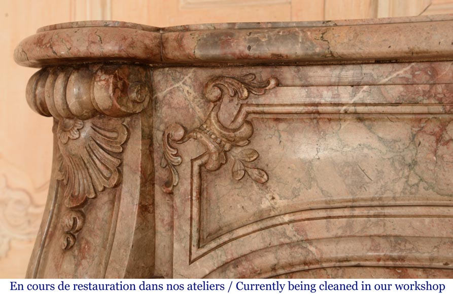 Antique Regence style mantel in Sarrancolin Ilhet marble-4