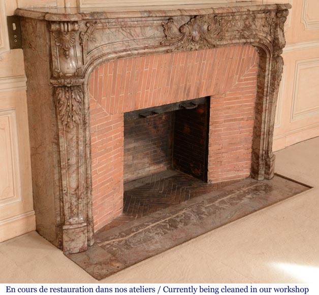 Antique Regence style mantel in Sarrancolin Ilhet marble-5