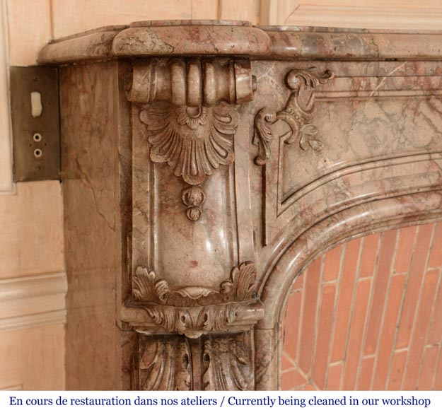 Antique Regence style mantel in Sarrancolin Ilhet marble-6