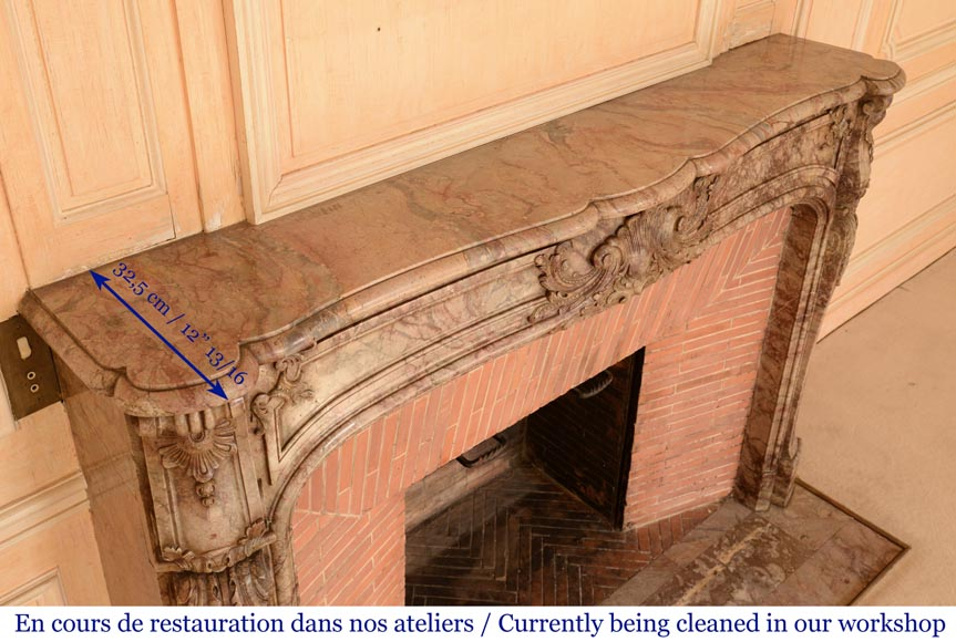 Antique Regence style mantel in Sarrancolin Ilhet marble-12
