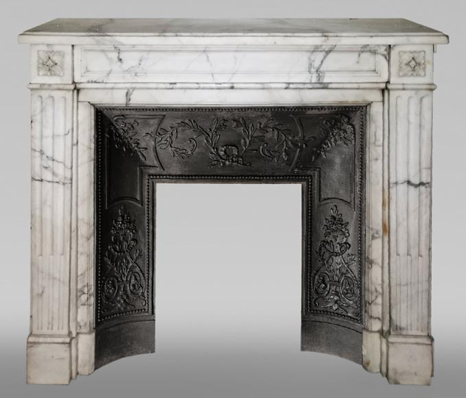Antique Louis XVI style fireplace with rosette in Arabescato marble-0